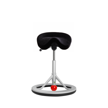 Balance Chair Backapp, Silver Grey, Alcantara Zwart, Red Ball